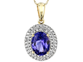 Blue Tanzanite 10k Yellow Gold Pendant With Chain 1.83ctw