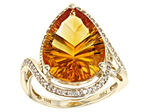 Golden Citrine 10k Yellow Gold Ring 6.62ctw