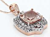 Pink Morganite 10k Rose Gold Pendant With Chain 2.93ctw