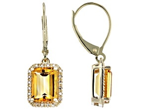 Golden Citrine 10k Yellow Gold Earrings 2.75ctw