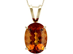 Orange Madeira Citrine 10k Gold Pendant With Chain 9.56ct