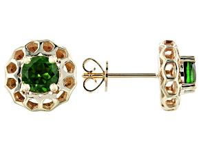 Green Russian Chrome Diopside 10k Yellow Gold Earrings .95ctw
