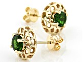 Green Russian Chrome Diopside 10k Yellow Gold Earrings .95ctw