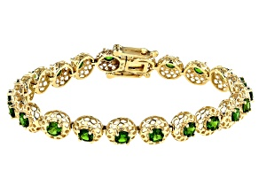 Green Russian Chrome Diopside 10k Yellow Gold Bracelet 5.12ctw