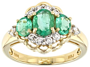 Green Ethiopian Emerald 10k Yellow Gold Ring 1.68ctw