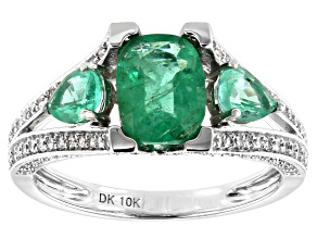 Green Ethiopian Emerald Rhodium Over 10k White Gold Ring 2.47ctw