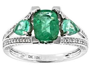 Green Ethiopian Emerald Rhodium Over 10k White Gold Ring 2.47ctw