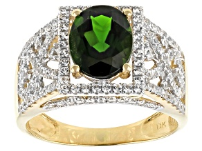 Green Russian Chrome Diopside 10k Yellow Gold Ring 2.91ctw