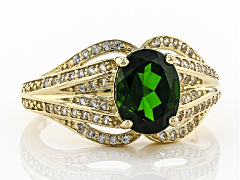 Green Russian Chrome Diopside 10k Yellow Gold Ring 2.02ctw