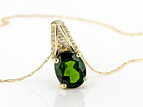 Green Russian Chrome Diopside 10k Yellow Gold Pendant With Chain 1.75ctw