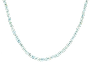 Blue Aquamarine Bead Strand 14k Yellow Gold Necklace