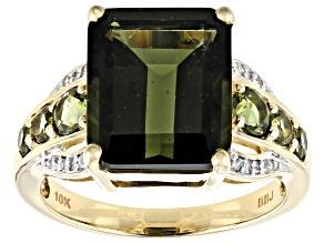 Green Moldavite 10k Yellow Gold Ring 4.73ctw