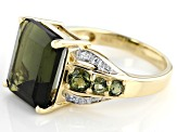 Green Moldavite 10k Yellow Gold Ring 4.73ctw