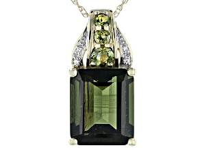 Green Moldavite 10k Yellow Gold Pendant With Chain 4.52ctw