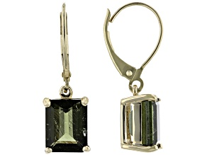 Green Moldavite 10k Yellow Gold Dangle Earrings 3.23ctw