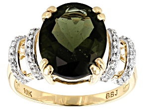Green Moldavite 10k Yellow Gold Ring 3.17ctw