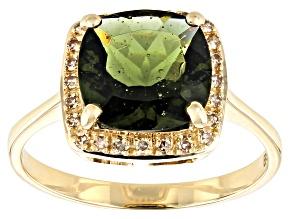 Green Moldavite 10k Yellow Gold Ring 2.08ctw