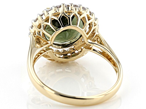 Green Moldavite 10k Yellow Gold Ring 2.84ctw