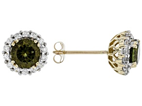 Green Moldavite 10k Yellow Gold Stud Earrings 1.62ctw