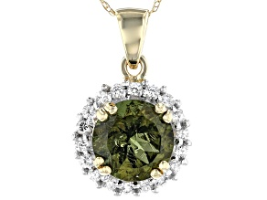 Green Moldavite 10k Yellow Gold Pendant With Chain 1.58tw