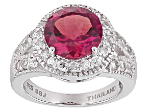 Red Lab Created Bixbite Sterling Silver Ring 2.91ctw