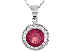 Red Lab Created Bixbite Sterling Silver Pendant With Chain 2.53