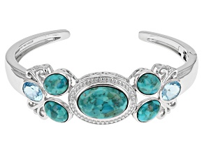 Blue Turquoise Sterling Silver Cuff Bracelet 5.70ctw
