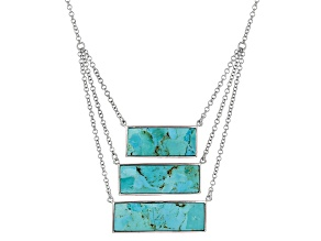 Blue Turquoise Sterling Silver 3-Station Necklace