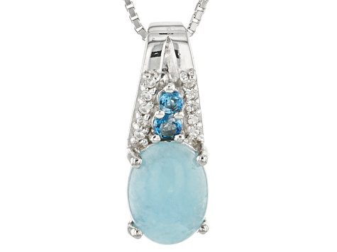 Blue Hemimorphite Sterling Silver Pendant With Chain .17ctw