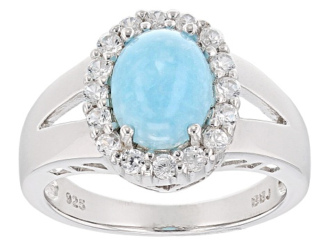 Blue Hemimorphite Sterling Silver Ring 2.37ctw