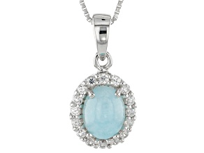 Blue Hemimorphite Sterling Silver Pendant With Chain 2.37ctw