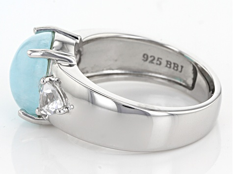 Blue Hemimorphite Sterling Silver Ring 4.03ctw