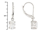 White Lab Created Yag Sterling Silver Earrings 3.40ctw
