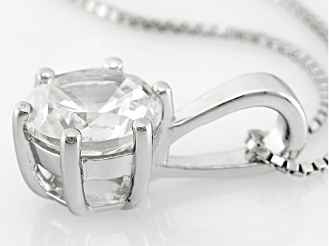 White Lab Created Yag Silver Pendant With Chain 2.55ct