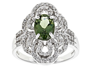 Green Apatite Sterling Silver Ring 1.44ctw