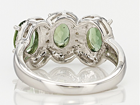 Green Apatite Sterling Silver Ring 2.29ctw
