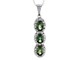 Green Apatite Sterling Silver 3-Stone Pendant With Chain 2.29ctw