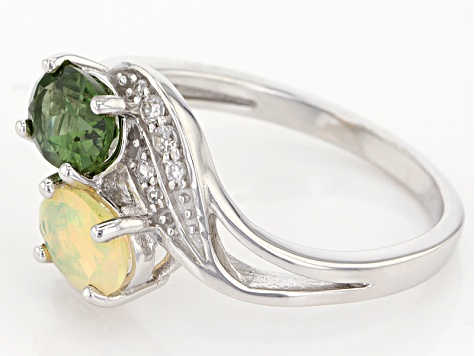 Green Apatite Sterling Silver Ring 1.40ctw