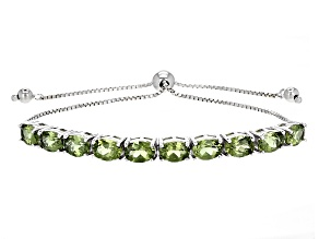 Green Apatite Sterling Silver Sliding Adjustable Bracelet 6.37ctw