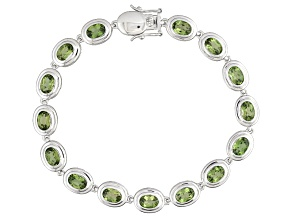 Green Apatite Sterling Silver Bracelet 9.95ctw