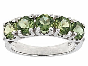 Green Apatite Sterling Silver 5-Stone Band Ring 2.12ctw