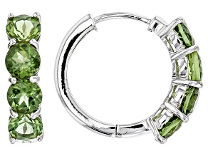 Green Apatite Sterling Silver Hoop Earrings 3.40ctw