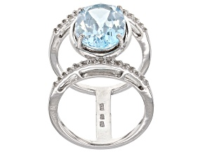 Sky Blue Topaz Sterling Silver Ring 6.70ctw