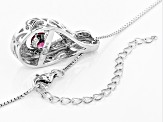 Red Dancing Lab Created Bixbite Silver Pendant With Chain .78ctw