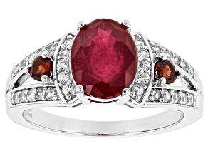 Mahaleo Ruby Sterling Silver Ring 3.15ctw