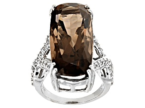 Brown Smoky Quartz Rhodium Over Sterling Silver Ring 23.57ctw