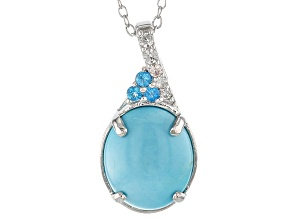 Blue Sleeping Beauty Turquoise Sterling Silver Pendant With Chain .26ctw