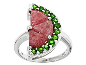 Red Rhodonite Rhodium Over Sterling Silver Watermelon Half Ring 3.44ctw
