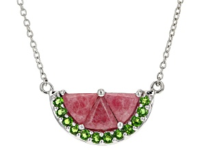 Red Rhodonite Sterling Silver Watermelon Half Necklace 3.74ctw