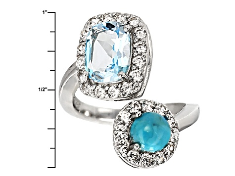 Sky Blue Topaz Sterling Silver Bypass Ring 4.10ctw